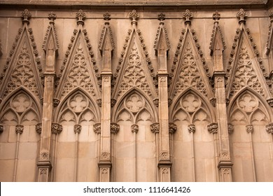 details in facade of gothic cathedral of barcelona
