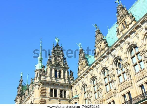 details facade town hall of Hamburg
