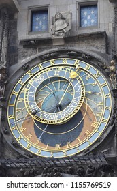 Details of the famous astronomical clock in Prague. A statue looks out from above the double clock face.