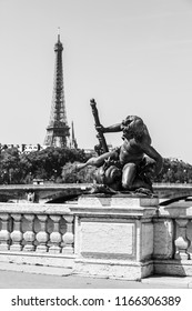 Details of the famous Pont Alexandre III bridge in central Paris with Eiffel Tower in the distance in black and white. Paris, France