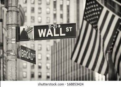 Details of the famous Wall Street in New York city, USA.