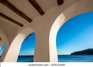 Details of the fishing village and white architecture in Calella de Palafrugell, one of the main destinations of the Costa Brava on the coast of the Mediterranean Sea in Catalonia Spain