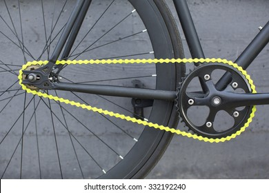 Details of fixie bike. Fixed bike.