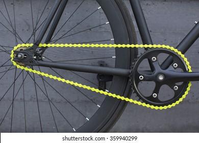 Details of fixie bike. Fixed bike.