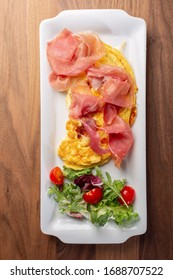 details of fresh hot omlette with ham