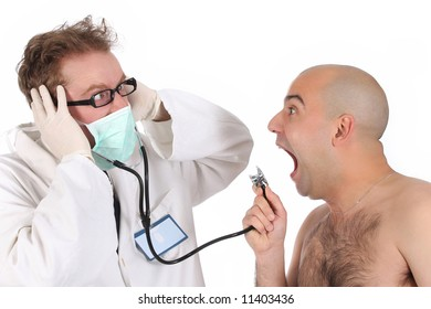 details funny doctor and patient with stethoscope