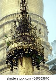 Details of the gold towers at Shwedagon Pagoda, Yangon, Myanmar.