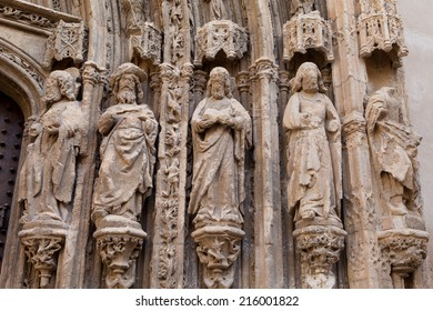 details of gothic church in Requena, Valencia, Spain
