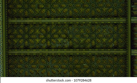 Details of the green texture of the beautiful roof from 14th century building located at Toledo, Spain