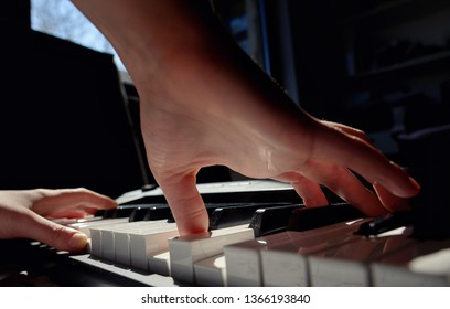 Details of Hands playing piano in room