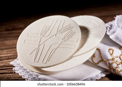 Details of the Hosties wafers or Sacramental Bread symbolising the body of the resurrected Christ used during Holy Communion in a church