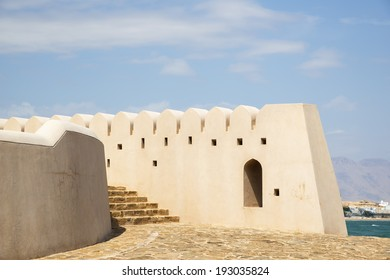 Details image of a wall at the lighthouse in Sur, Oman