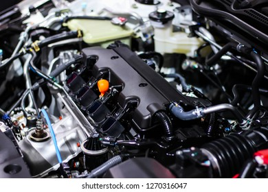 Details inside of a private car engine. Select focus.