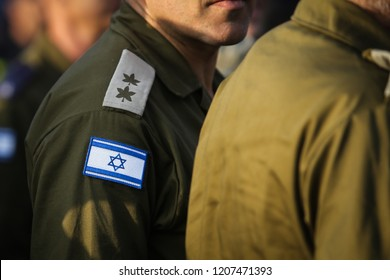Details with the Israeli flag on a military medic uniform
