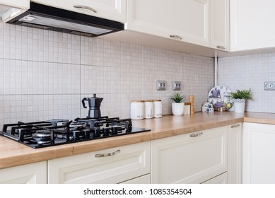 details of kitchen interior in new luxury home, residential decoration