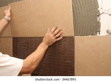 details of laying ceramic tile on wall