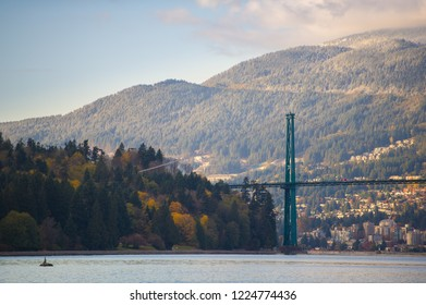 Details of Lions Gate Suspension Bridge in Stanley Park Vancouver.  North Vancouver is visible in background.