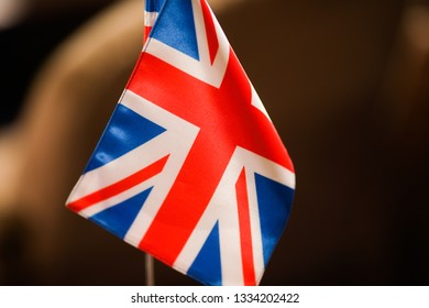 Details with the lonely flag of the United Kingdom during a conference of European Union officials