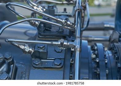 Details of the M75RU marine gas turbine engine close-up