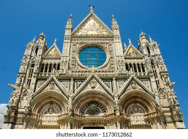 Details of main cathedrale in Siena, Toscana, Italy front view during afternoon