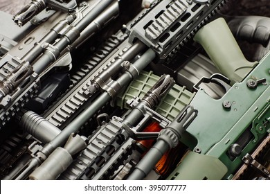 Details of many  confiscated modern rifles supplied smuggled. detained party of illegal weapons. war, army, police, weapon, technology concept