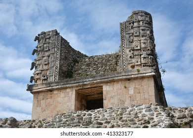 Details of Mayan Puuc Architecture Style - Uxmal. The word 'puuc' is derived from the Maya term for 'hill'. Uxmal. Yucatan Peninsula, Mexico.