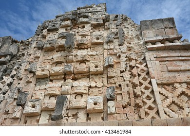 Details of Mayan Puuc Architecture Style - Uxmal. Yucatan Peninsula, Mexico. The word 'puuc' is derived from the Maya term for 'hill'.