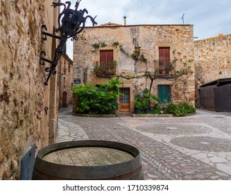 Details of the medieval streets in the beautiful village of Pals in northern Catalonia