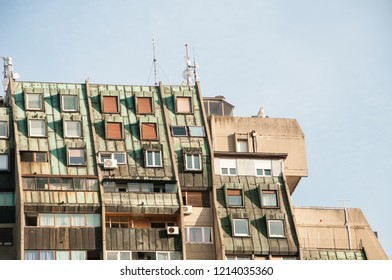 Details of a metal rooftop of an old concrete socialist residential building in Belgrade, Serbia, Eastern Europe