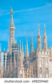 Details of the Milan Cathedral, the spiers and the Madonna