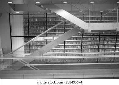 Details of modern public library interior, monochrome