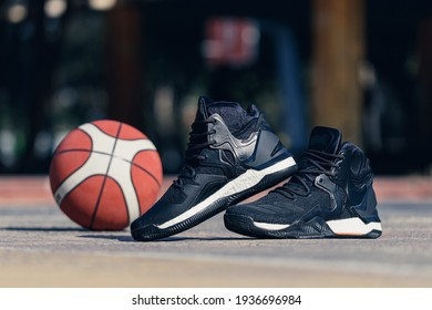 Details of a morning trainning basketball outdoors