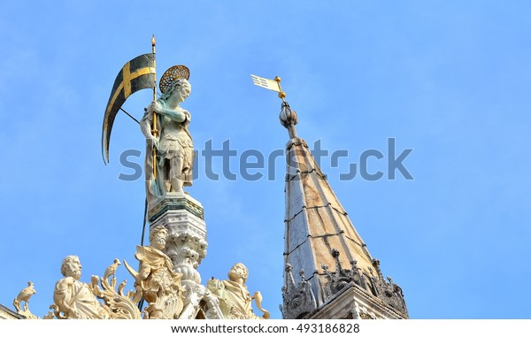 """Details of the most famous church in Venice called """"San Marco"""", Italy."""