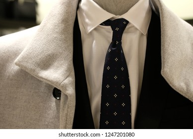 Details of the most fashionable men's suit with a tie, blurred background photo