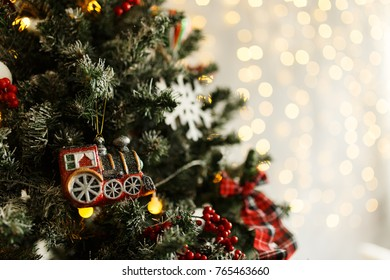 Details and objects of a beautiful Christmas interior. Place for text.