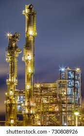 Details of an Oil refinery, petrochemical industry night shot