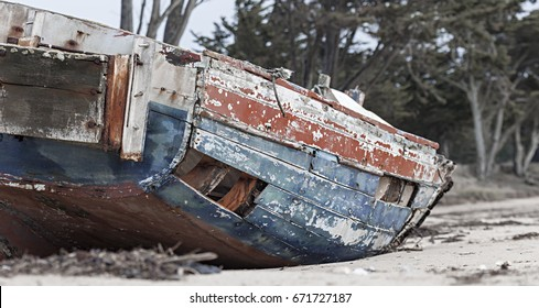 Details of an old, abandoned fishing boat in France
