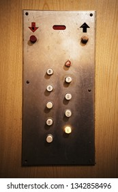 Details of an old elevator, close-up view on elevator buttons.