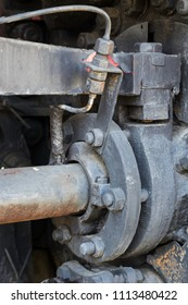 Details of old steam locomotive