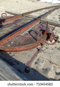 """Details of an Old Train Line on the Beach, at """"Fonte da Telha"""", Costa da Caparica, Almada, Lisbon, Portugal"""