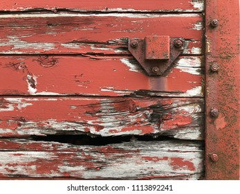 Details from old wooden door with metal and bolts