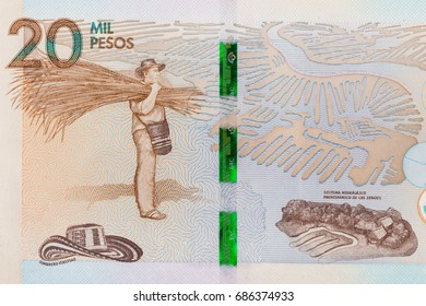 Details on the twenty thousand Colombian pesos bill