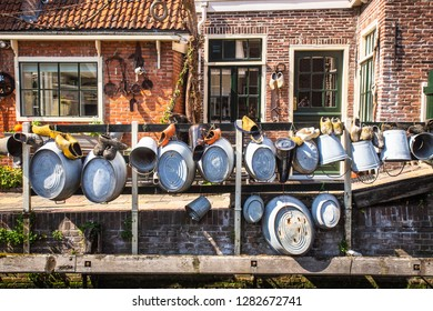 Details on  typical home along canal in the cheese-making town of Edam Holland
