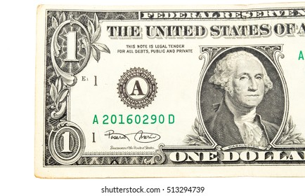 Details of one  dollar banknote isolated on white background