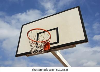 Details of an outdoor basketball net