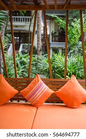 Details of the outdoor sofa bed in the hotel garden