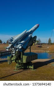 Details and parts of old military equipment, anti-aircraft and missile systems