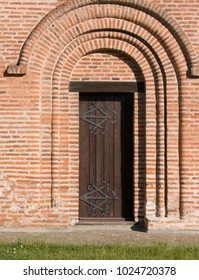 details of Piatnitska church in Chernihiv, Ukraine, with a door