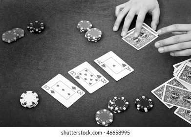Details of a poker table during a game