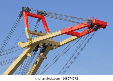 details of a recovery crane for ships